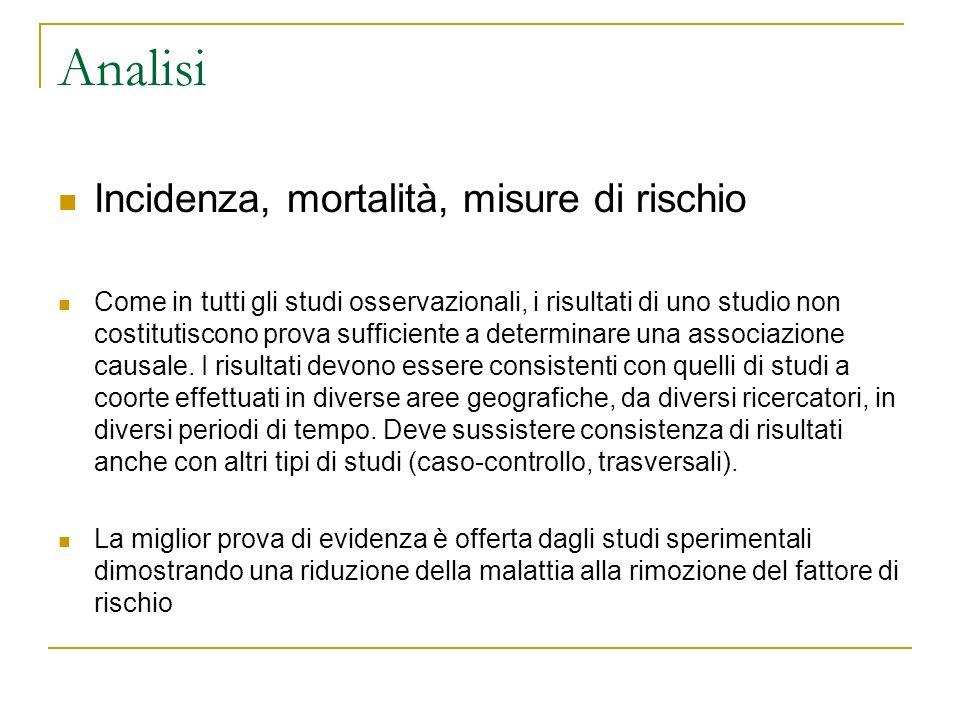 Analisi Incidenza, mortalità, misure di rischio Come in tutti gli studi osservazionali, i risultati di uno studio non costitutiscono prova sufficiente