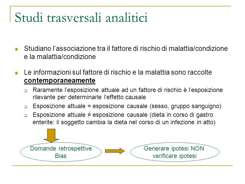 Studi trasversali analitici Studiano lassociazione tra il fattore di rischio di malattia/condizione e la malattia/condizione Le informazioni sul fatto