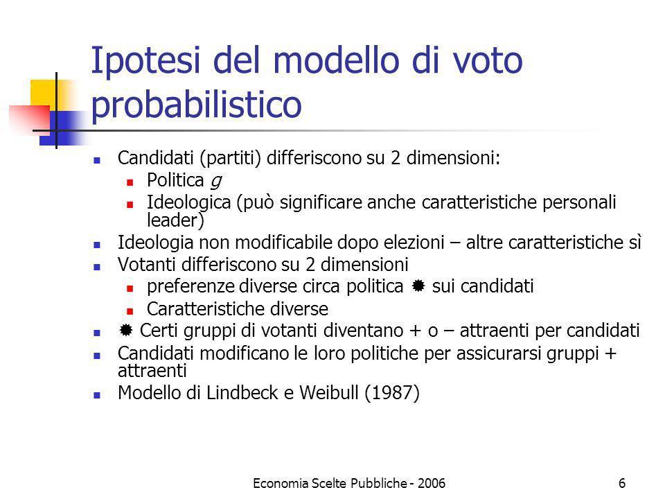 Economia Scelte Pubbliche - 20066 Ipotesi del modello di voto probabilistico Candidati (partiti) differiscono su 2 dimensioni: Politica g Ideologica (