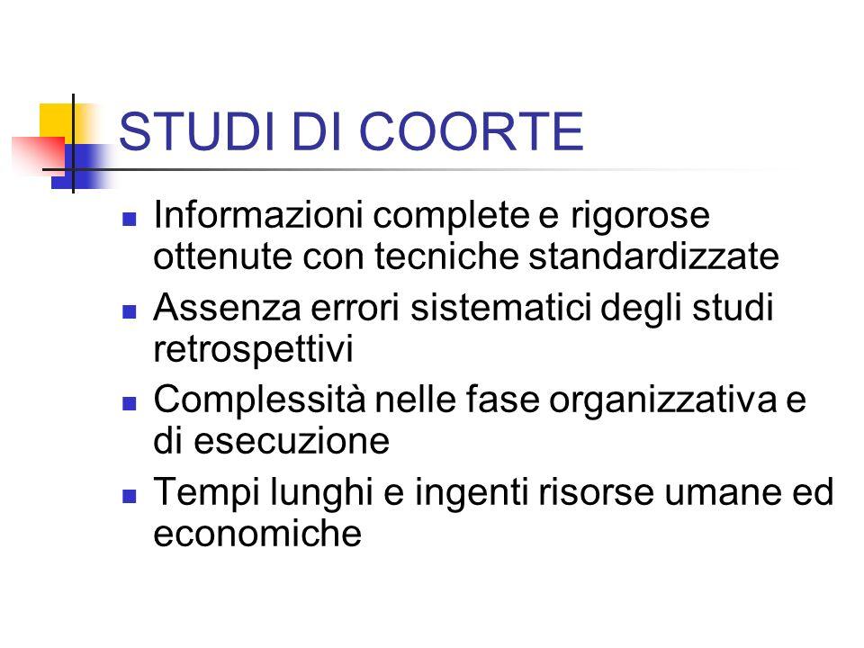 STUDI DI COORTE Informazioni complete e rigorose ottenute con tecniche standardizzate Assenza errori sistematici degli studi retrospettivi Complessità