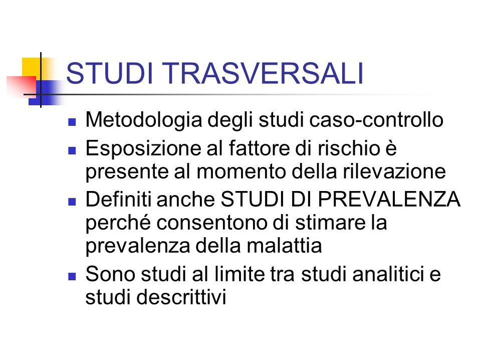 STUDI TRASVERSALI Metodologia degli studi caso-controllo Esposizione al fattore di rischio è presente al momento della rilevazione Definiti anche STUD