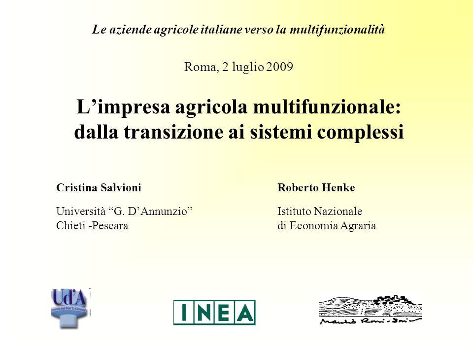 Roma, 2 luglio 2009 Limpresa agricola multifunzionale: dalla transizione ai sistemi complessi Cristina Salvioni Roberto Henke Università G.