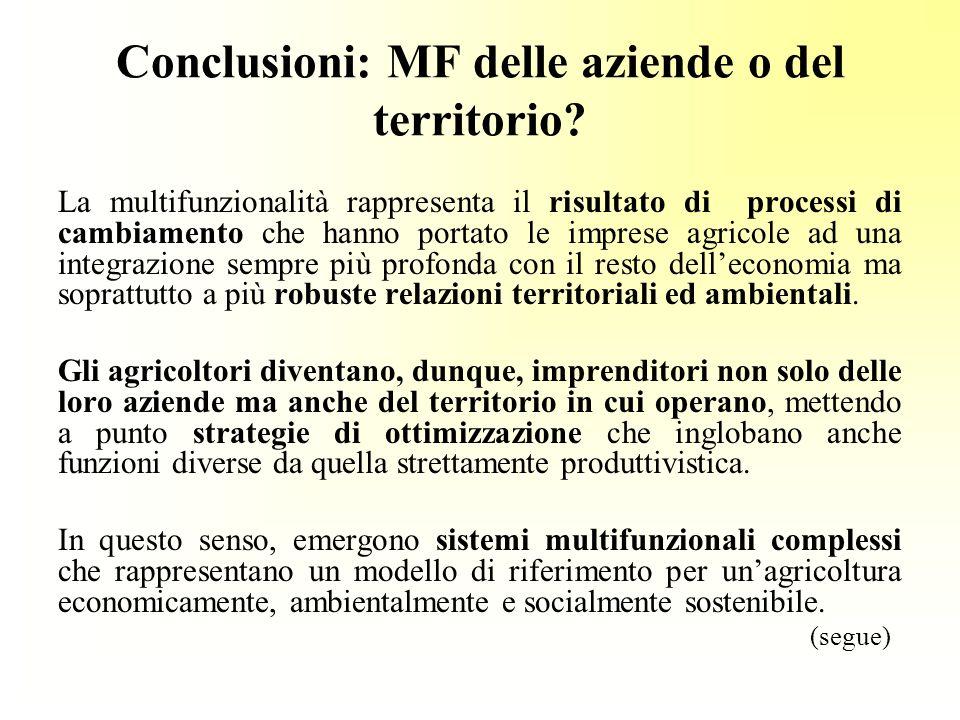 Conclusioni: MF delle aziende o del territorio.