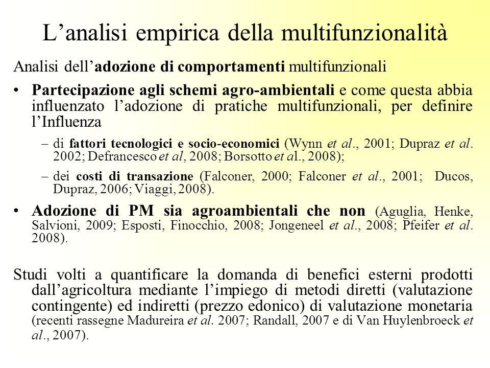 Lanalisi empirica della multifunzionalità Analisi delladozione di comportamenti multifunzionali Partecipazione agli schemi agro-ambientali e come questa abbia influenzato ladozione di pratiche multifunzionali, per definire lInfluenza –di fattori tecnologici e socio-economici (Wynn et al., 2001; Dupraz et al.