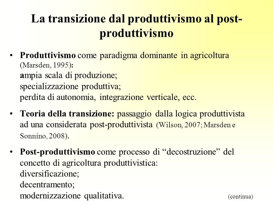 La transizione dal produttivismo al post- produttivismo Produttivismo come paradigma dominante in agricoltura (Marsden, 1995): ampia scala di produzione; specializzazione produttiva; perdita di autonomia, integrazione verticale, ecc.