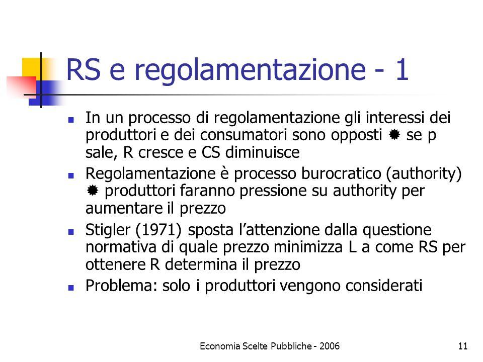 Economia Scelte Pubbliche - 200612 RS e regolamentazione - 2 Peltzman (1976) include i due attori e un regolamentatore che massimizza voti (supporto?) che dipendono da utilità di produttori e consumatori V=v(UR, UC), derivate positive UR=R, UC=K-R-L, funzioni lineari in R e L, K è misura di CS, R e L funzioni di P Il regolamentatore stabilisce P in modo che