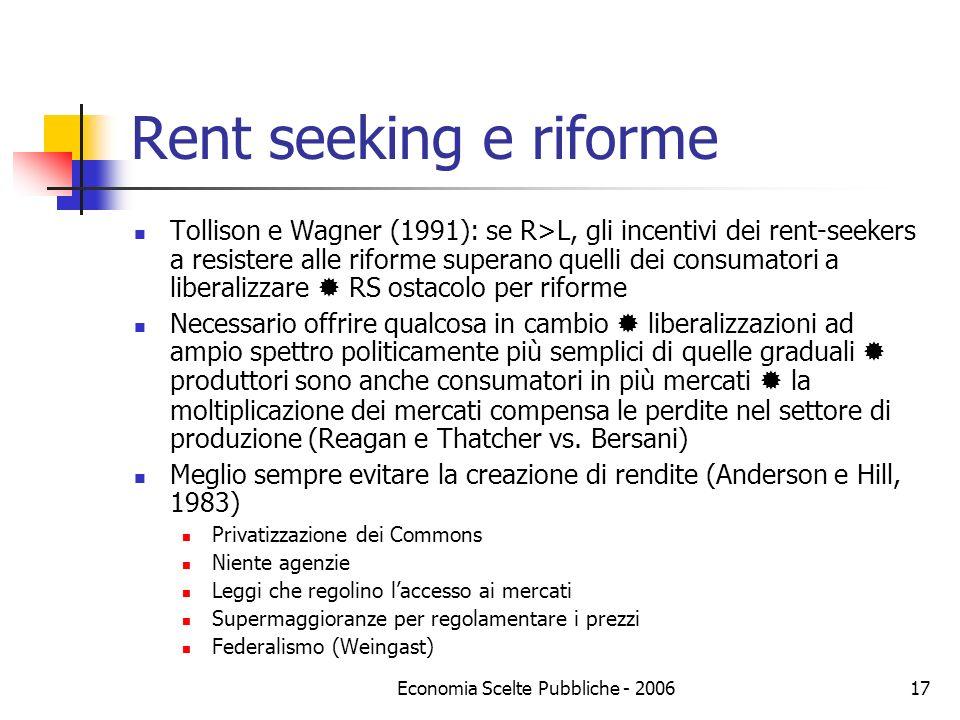 Economia Scelte Pubbliche - 200617 Rent seeking e riforme Tollison e Wagner (1991): se R>L, gli incentivi dei rent-seekers a resistere alle riforme su
