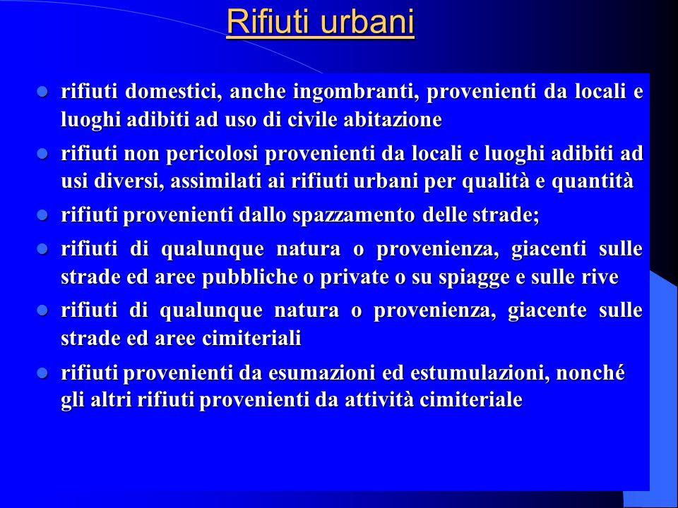 Rifiuti urbani rifiuti domestici, anche ingombranti, provenienti da locali e luoghi adibiti ad uso di civile abitazione rifiuti domestici, anche ingom