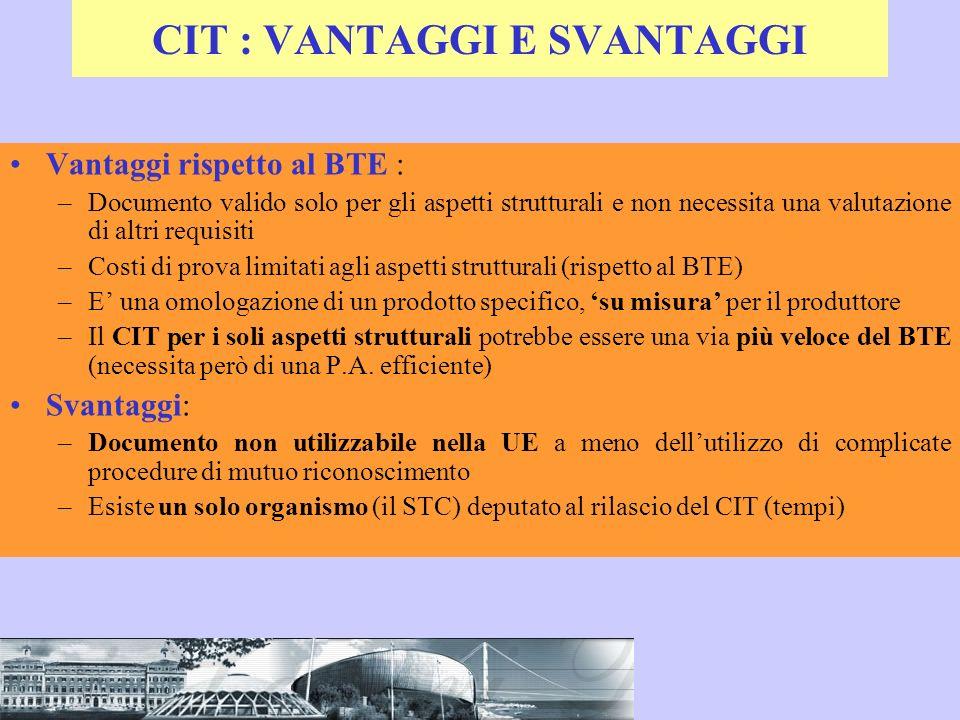 CIT : VANTAGGI E SVANTAGGI Vantaggi rispetto al BTE : –Documento valido solo per gli aspetti strutturali e non necessita una valutazione di altri requ