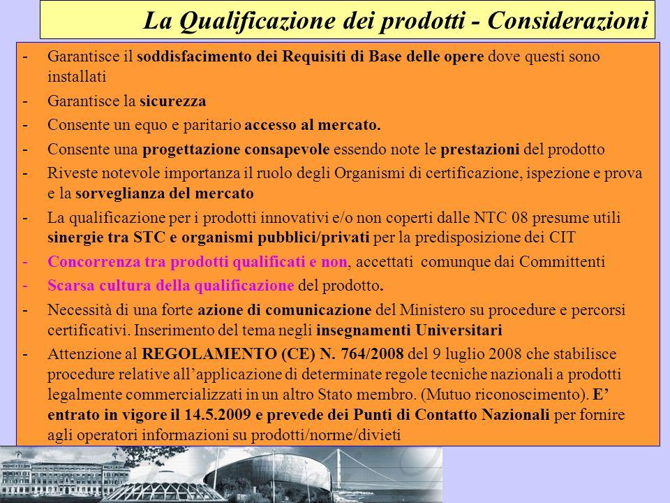 La Qualificazione dei prodotti - Considerazioni -Garantisce il soddisfacimento dei Requisiti di Base delle opere dove questi sono installati -Garantis