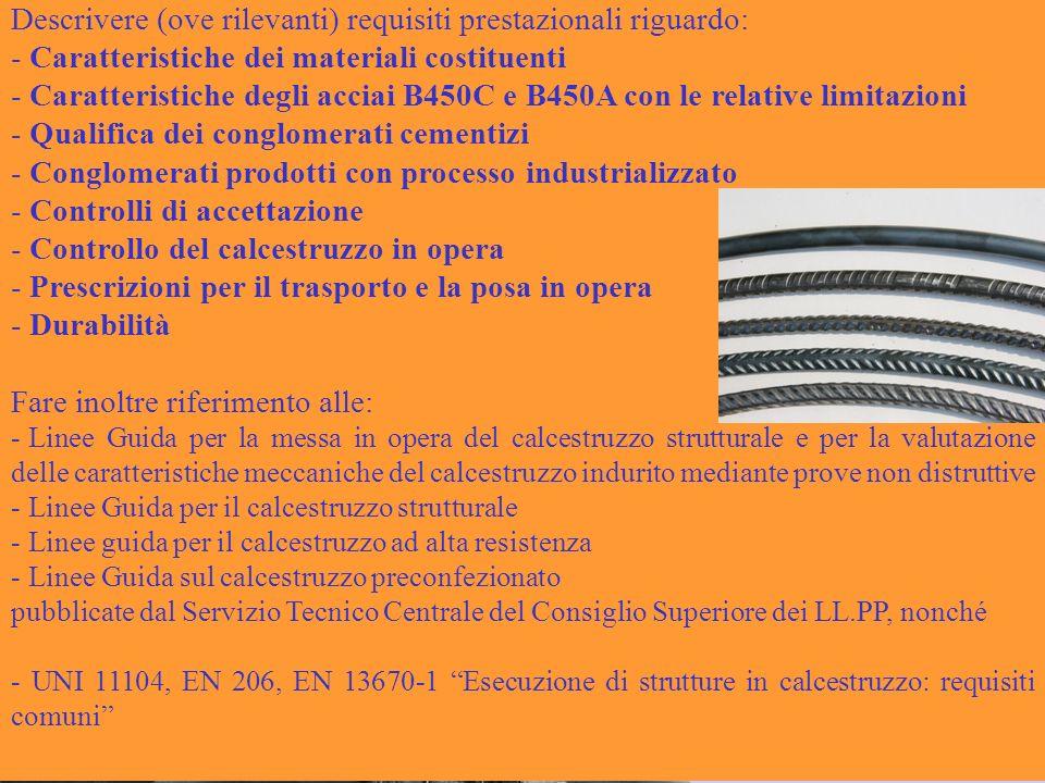 Conglomerato cementizio armato Descrivere (ove rilevanti) requisiti prestazionali riguardo: - Caratteristiche dei materiali costituenti - Caratteristi