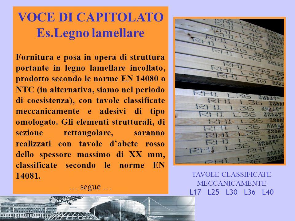 VOCE DI CAPITOLATO Es.Legno lamellare Fornitura e posa in opera di struttura portante in legno lamellare incollato, prodotto secondo le norme EN 14080