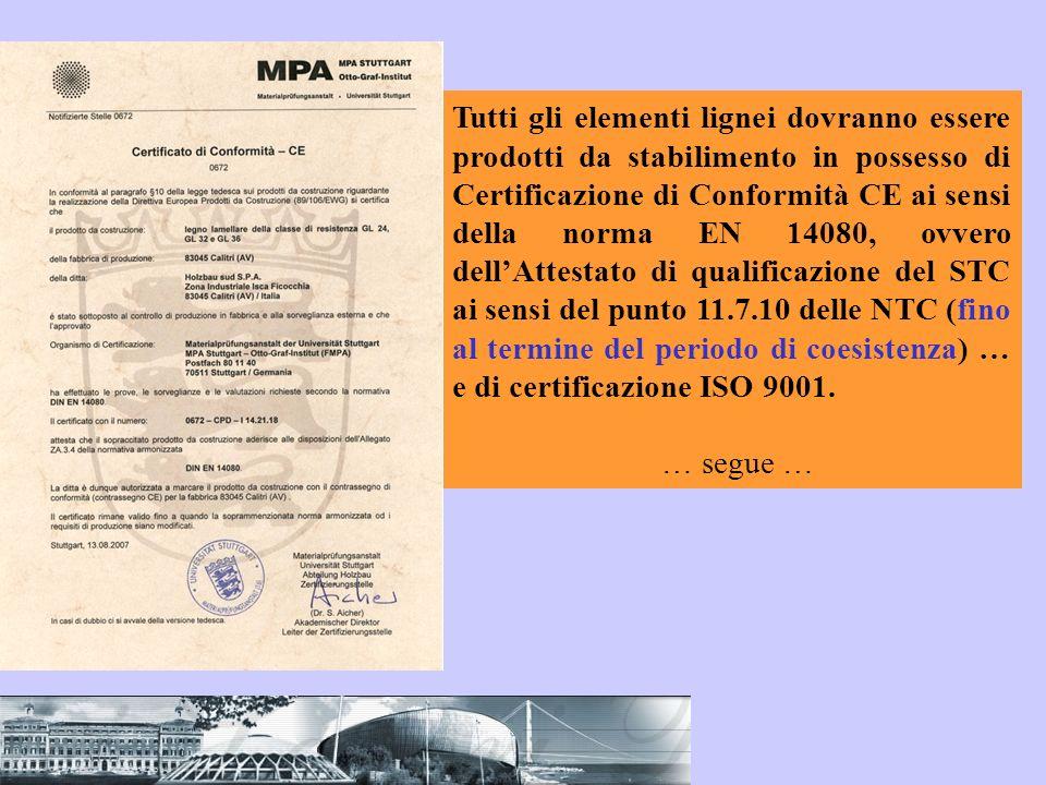 Tutti gli elementi lignei dovranno essere prodotti da stabilimento in possesso di Certificazione di Conformità CE ai sensi della norma EN 14080, ovver