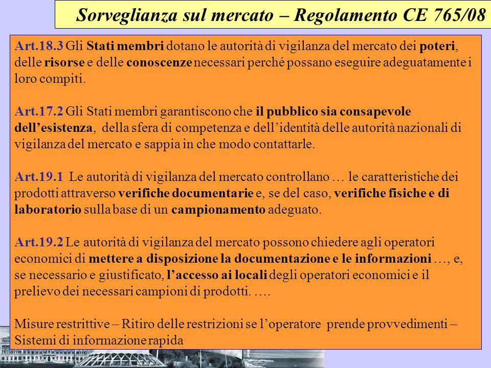 Sorveglianza sul mercato – Regolamento CE 765/08 Art.18.3 Gli Stati membri dotano le autorità di vigilanza del mercato dei poteri, delle risorse e del