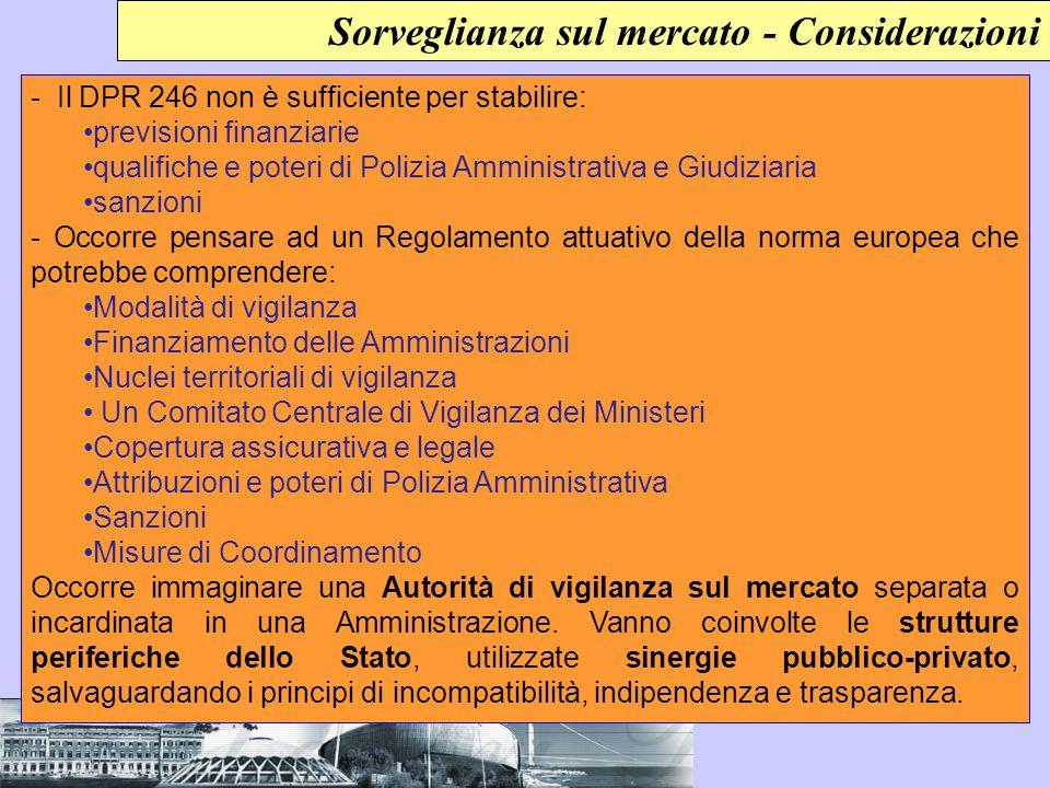 Sorveglianza sul mercato - Considerazioni - Il DPR 246 non è sufficiente per stabilire: previsioni finanziarie qualifiche e poteri di Polizia Amminist