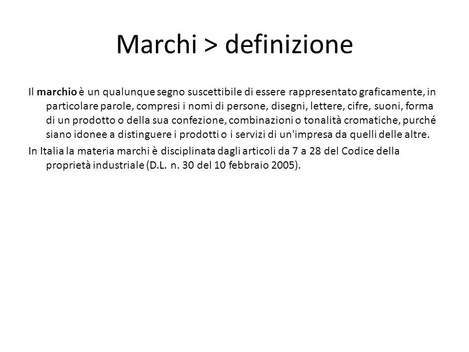 Marchi > definizione Il marchio è un qualunque segno suscettibile di essere rappresentato graficamente, in particolare parole, compresi i nomi di pers