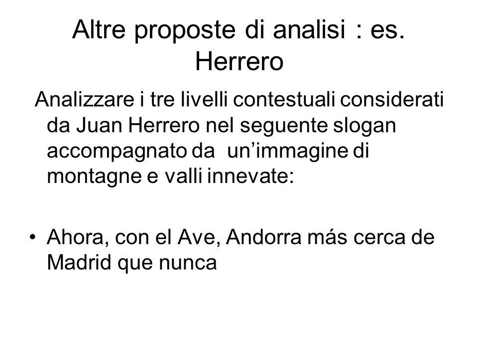 Altre proposte di analisi : es. Herrero Analizzare i tre livelli contestuali considerati da Juan Herrero nel seguente slogan accompagnato da unimmagin