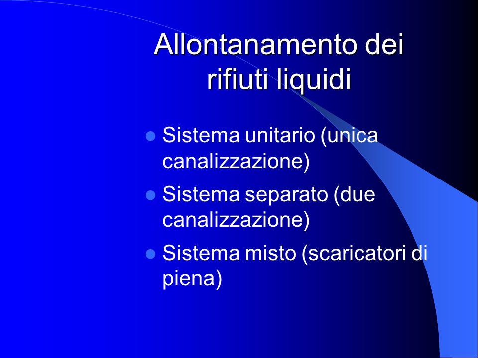 Allontanamento dei rifiuti liquidi Sistema unitario (unica canalizzazione) Sistema separato (due canalizzazione) Sistema misto (scaricatori di piena)