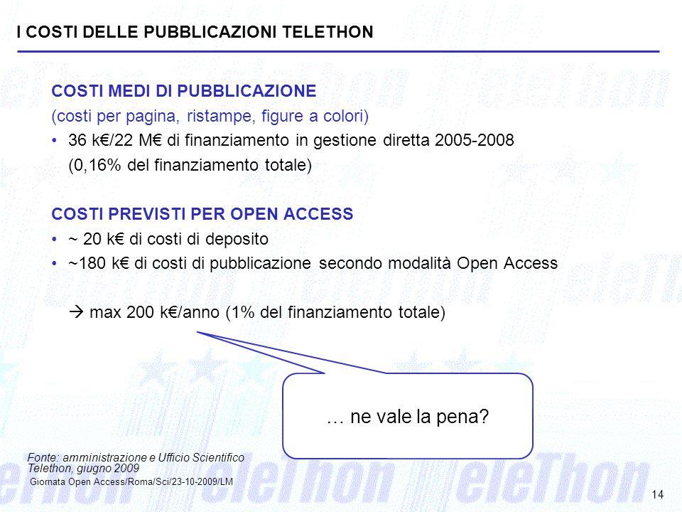 I COSTI DELLE PUBBLICAZIONI TELETHON COSTI MEDI DI PUBBLICAZIONE (costi per pagina, ristampe, figure a colori) 36 k/22 M di finanziamento in gestione
