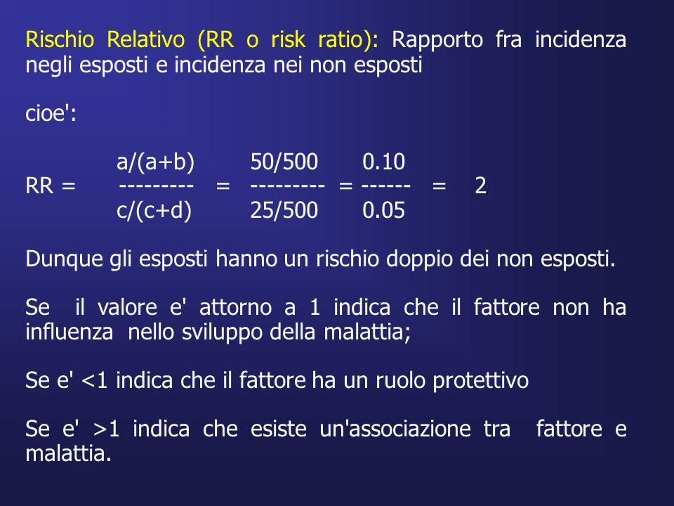 Rischio Relativo (RR o risk ratio): Rapporto fra incidenza negli esposti e incidenza nei non esposti cioe': a/(a+b)50/5000.10 RR = --------- =--------