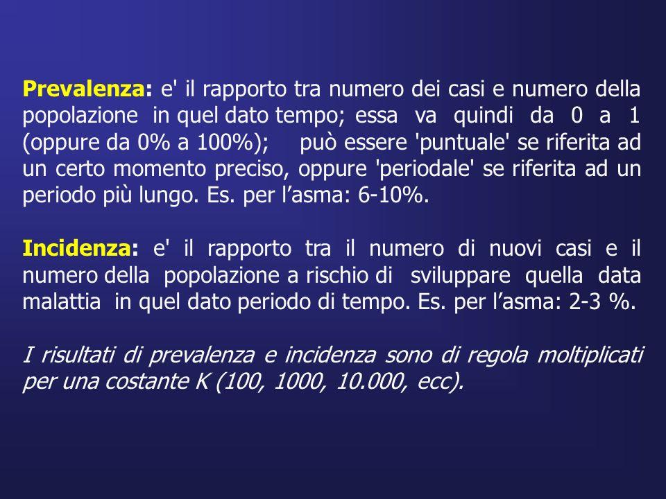 Prevalenza: e' il rapporto tra numero dei casi e numero della popolazione in quel dato tempo; essa va quindi da 0 a 1 (oppure da 0% a 100%); può esser