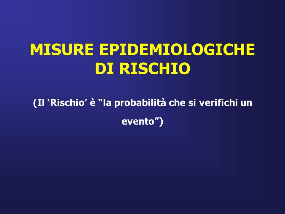 MISURE EPIDEMIOLOGICHE DI RISCHIO (Il Rischio è la probabilità che si verifichi un evento)