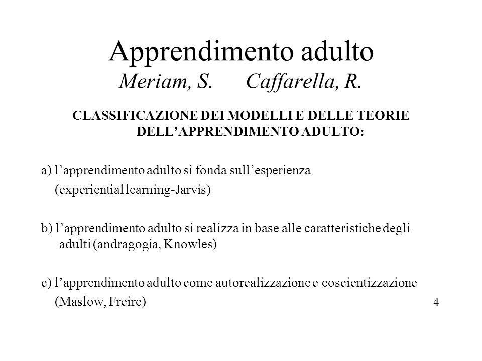 Apprendimento adulto Meriam, S. Caffarella, R. CLASSIFICAZIONE DEI MODELLI E DELLE TEORIE DELLAPPRENDIMENTO ADULTO: a) lapprendimento adulto si fonda