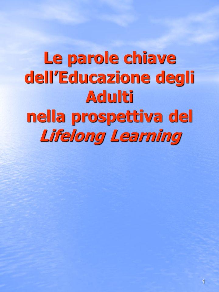 2 LA PROSPETTIVA DEL LIFELONG LEARNING Il concetto di apprendimento permanente (A.P.) Lifelong Learning è inteso come paradigma della formazione nel XXI secolo (learning age e società globalizzata) centrato sullimportanza della competenza di centrato sullimportanza della competenza di Apprendere ad Apprendere per tutta la vita Dimensione innovativa e di profondo cambiamento Dimensione innovativa e di profondo cambiamento - sul piano teorico - sul piano teorico - sul piano dellagire formativo - sul piano dellagire formativo - sul piano della gestione e sviluppo qualitativo delle - sul piano della gestione e sviluppo qualitativo delle istituzioni/ percorsi formativi istituzioni/ percorsi formativi