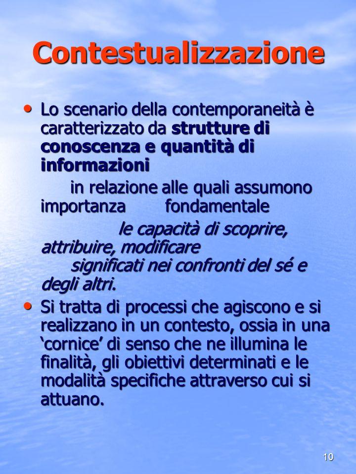 10 Contestualizzazione Lo scenario della contemporaneità è caratterizzato da strutture di conoscenza e quantità di informazioni Lo scenario della cont