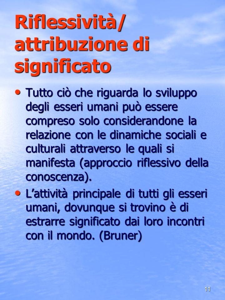 11 Riflessività/ attribuzione di significato Tutto ciò che riguarda lo sviluppo degli esseri umani può essere compreso solo considerandone la relazion