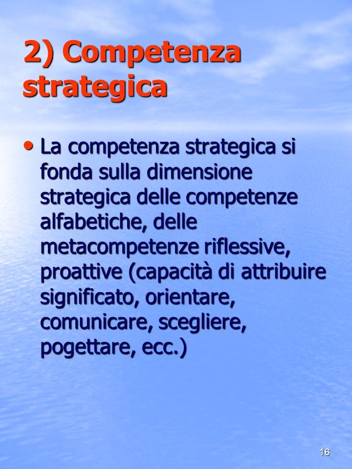 16 2) Competenza strategica La competenza strategica si fonda sulla dimensione strategica delle competenze alfabetiche, delle metacompetenze riflessiv