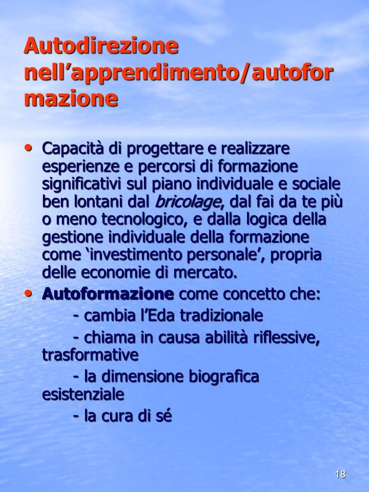 18 Autodirezione nellapprendimento/autofor mazione Capacità di progettare e realizzare esperienze e percorsi di formazione significativi sul piano ind