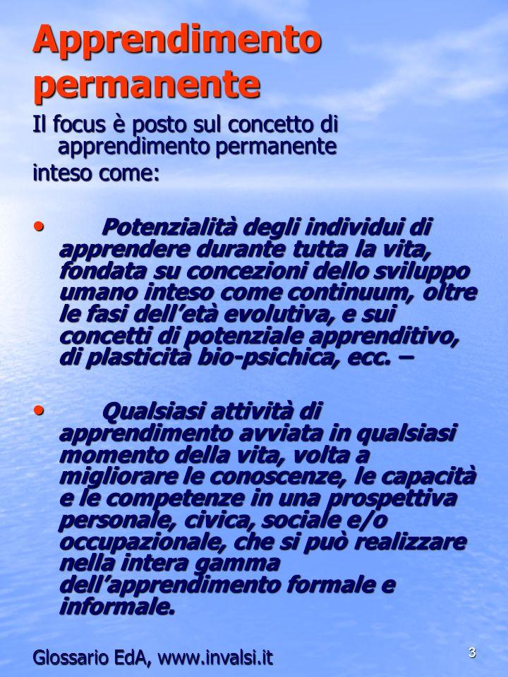 3 Apprendimento permanente Il focus è posto sul concetto di apprendimento permanente inteso come: Potenzialità degli individui di apprendere durante t