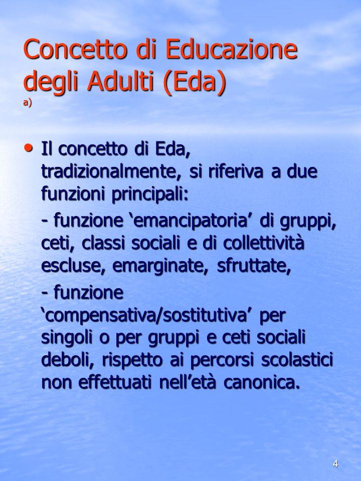 4 Concetto di Educazione degli Adulti (Eda) a) Il concetto di Eda, tradizionalmente, si riferiva a due funzioni principali: Il concetto di Eda, tradiz