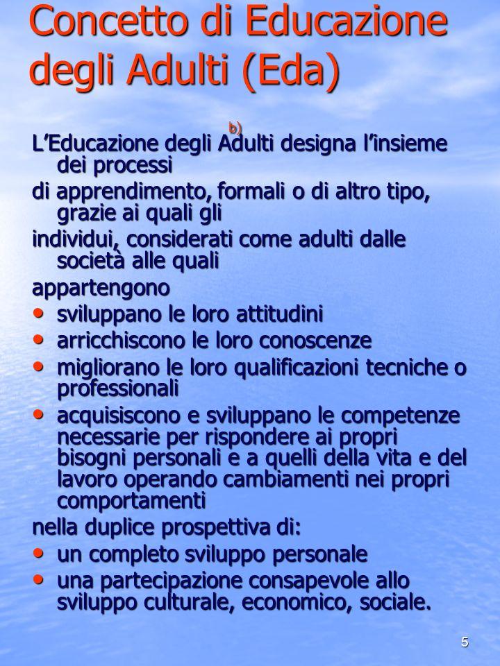 5 Concetto di Educazione degli Adulti (Eda) b) LEducazione degli Adulti designa linsieme dei processi di apprendimento, formali o di altro tipo, grazi