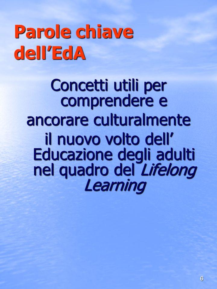 6 Parole chiave dellEdA Concetti utili per comprendere e ancorare culturalmente il nuovo volto dell Educazione degli adulti nel quadro del Lifelong Le