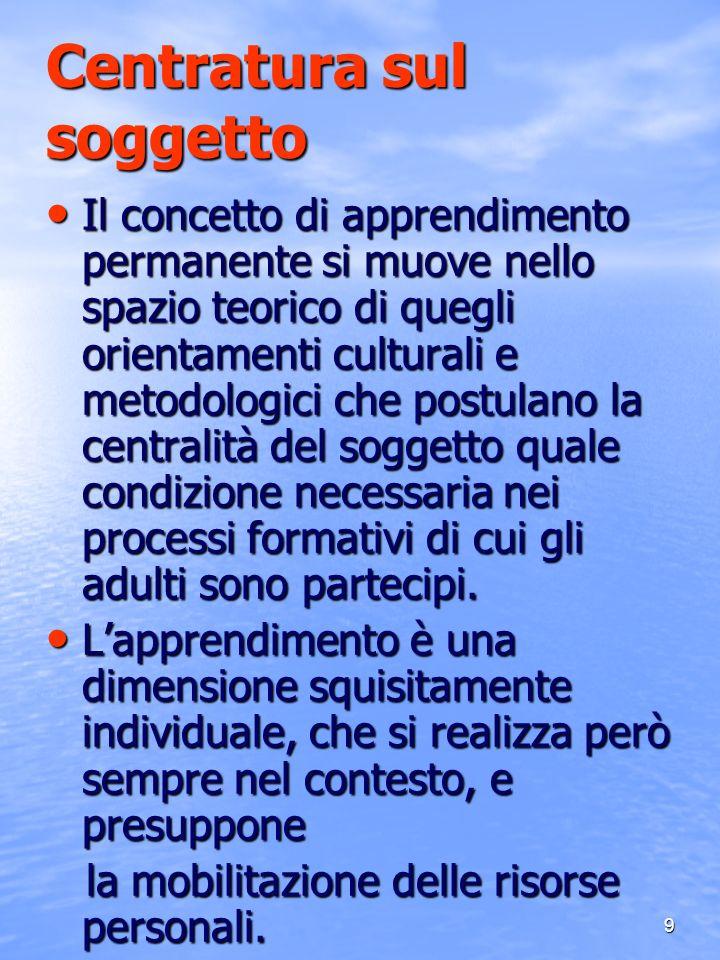 9 Centratura sul soggetto Il concetto di apprendimento permanente si muove nello spazio teorico di quegli orientamenti culturali e metodologici che po