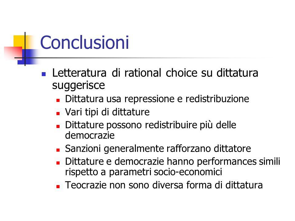 Conclusioni Letteratura di rational choice su dittatura suggerisce Dittatura usa repressione e redistribuzione Vari tipi di dittature Dittature posson