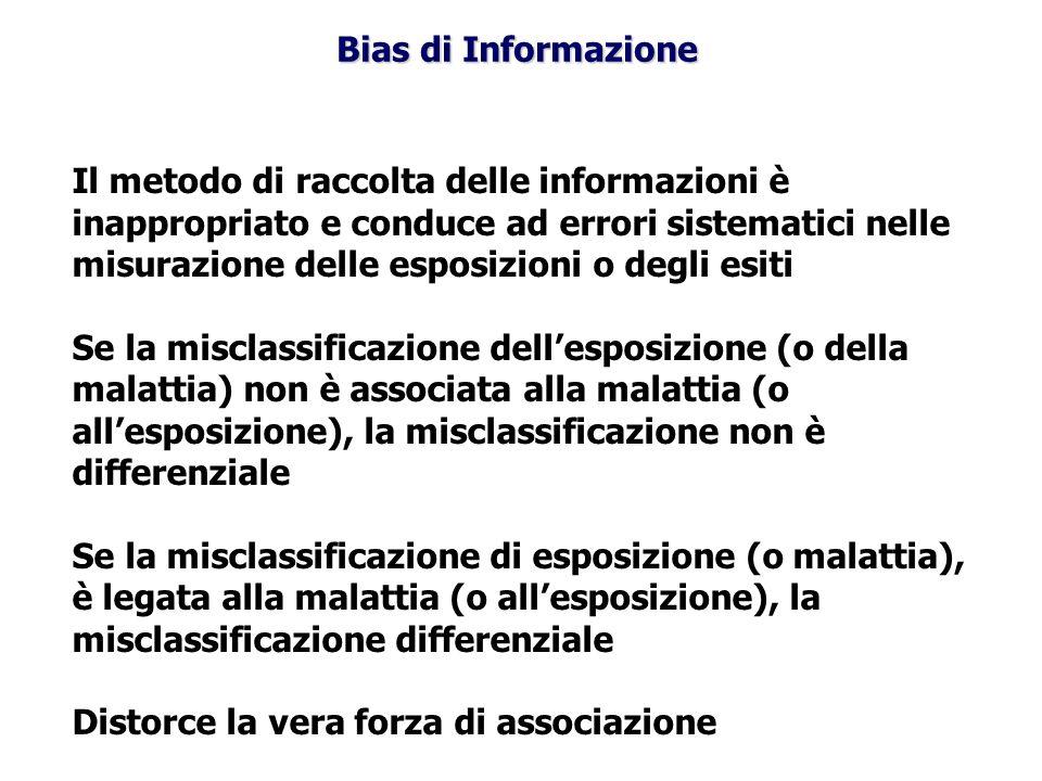 Bias di Informazione Il metodo di raccolta delle informazioni è inappropriato e conduce ad errori sistematici nelle misurazione delle esposizioni o de