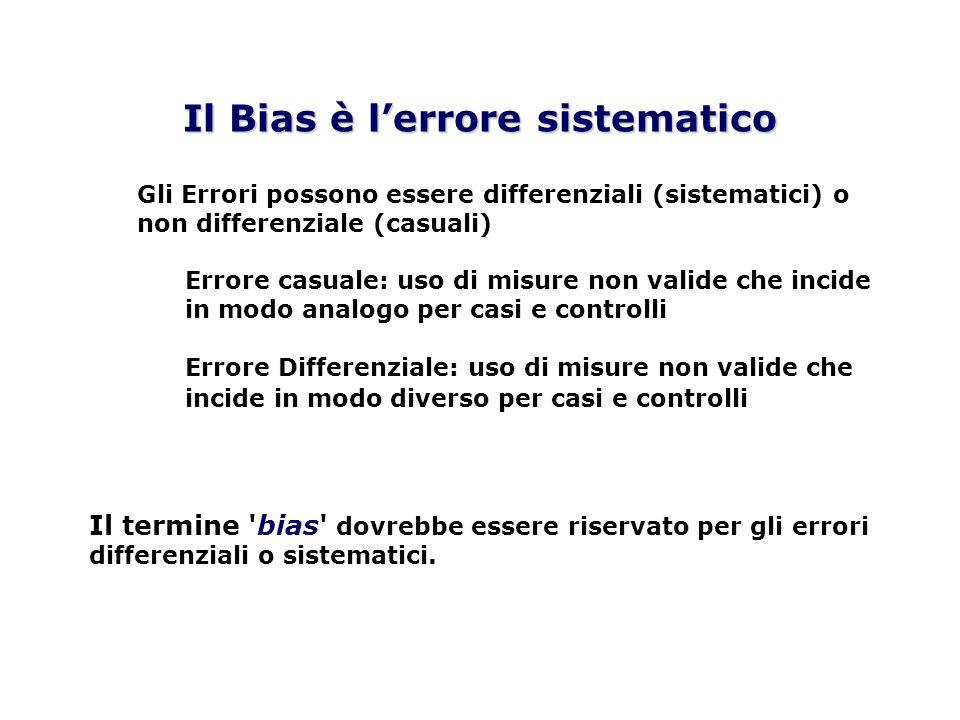 Gli Errori possono essere differenziali (sistematici) o non differenziale (casuali) Errore casuale: uso di misure non valide che incide in modo analog