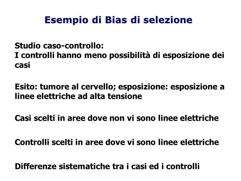 Esempio di Bias di selezione Studio caso-controllo: I controlli hanno meno possibilità di esposizione dei casi Esito: tumore al cervello; esposizione: