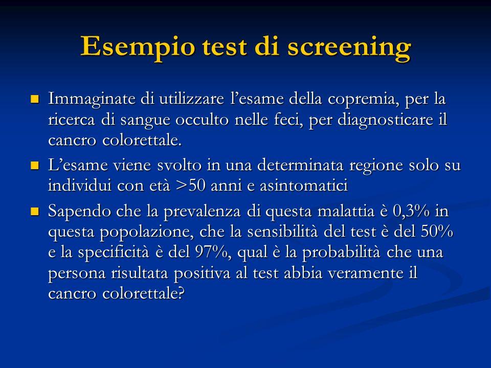 Esempio test di screening Immaginate di utilizzare lesame della copremia, per la ricerca di sangue occulto nelle feci, per diagnosticare il cancro col