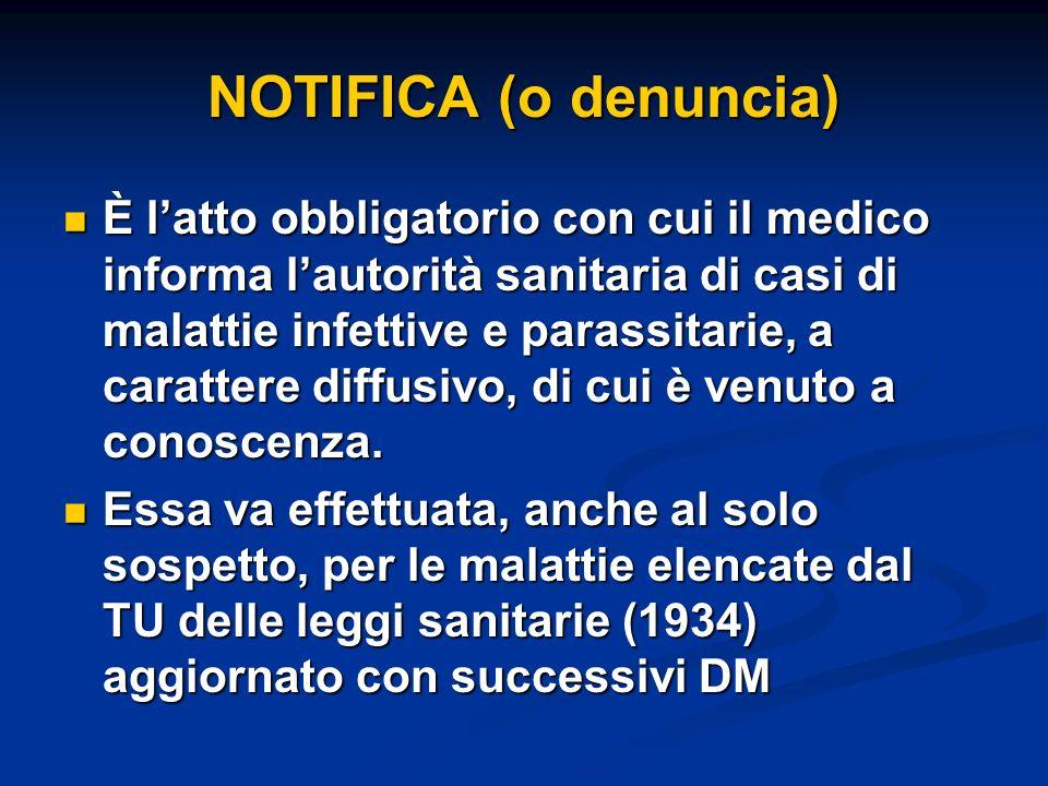 NOTIFICA (o denuncia) È latto obbligatorio con cui il medico informa lautorità sanitaria di casi di malattie infettive e parassitarie, a carattere dif
