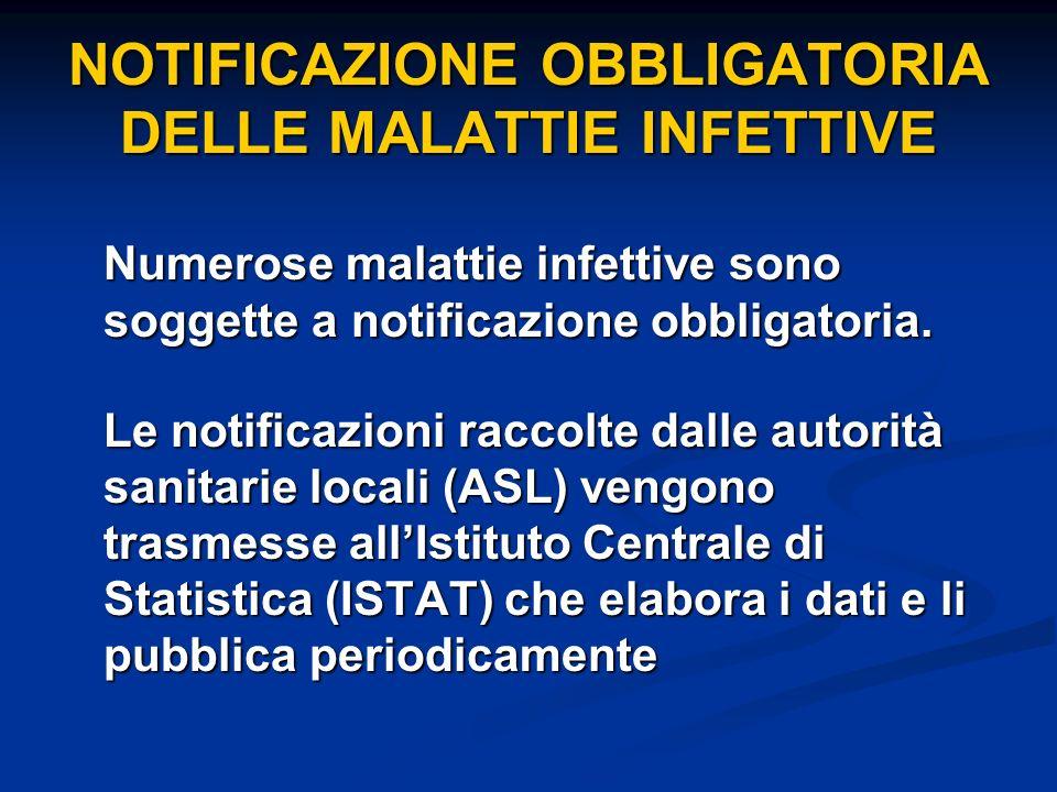 NOTIFICAZIONE OBBLIGATORIA DELLE MALATTIE INFETTIVE Numerose malattie infettive sono soggette a notificazione obbligatoria. Le notificazioni raccolte