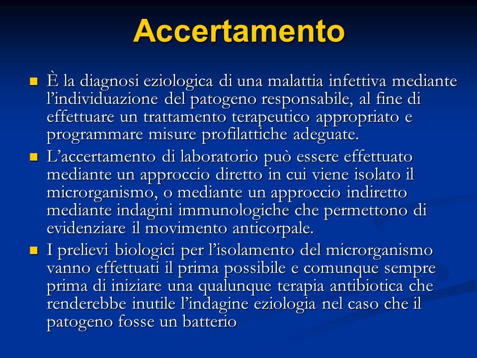 Accertamento È la diagnosi eziologica di una malattia infettiva mediante lindividuazione del patogeno responsabile, al fine di effettuare un trattamen