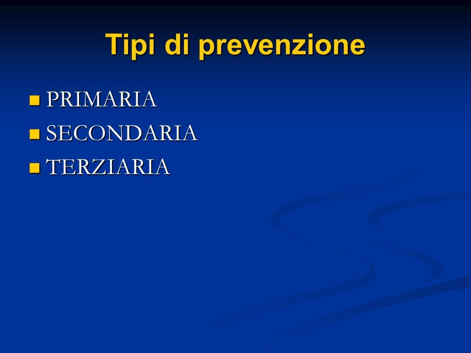 Prevenzione primaria Obiettivo della prevenzione primaria è impedire linsorgenza di nuovi casi di malattia nelle persone sane e quindi determinare la diminuzione del tasso di incidenza della malattia contro cui è rivolto.