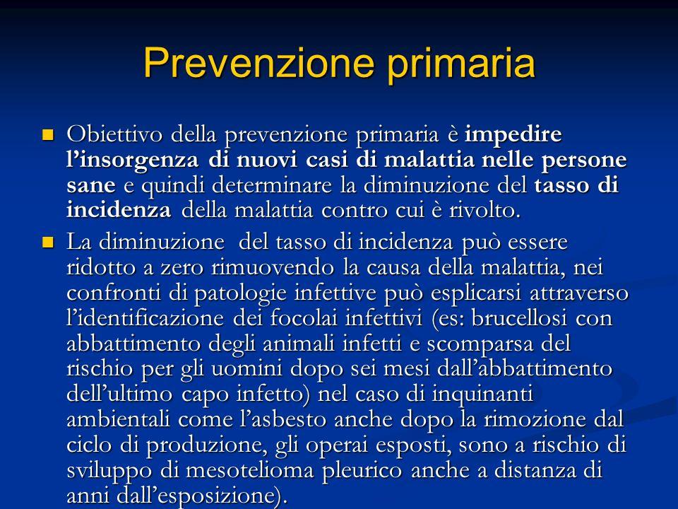 Prevenzione primaria Obiettivo della prevenzione primaria è impedire linsorgenza di nuovi casi di malattia nelle persone sane e quindi determinare la