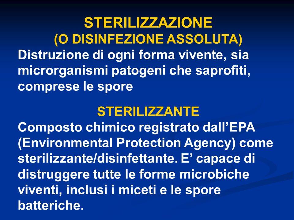 STERILIZZAZIONE (O DISINFEZIONE ASSOLUTA) Distruzione di ogni forma vivente, sia microrganismi patogeni che saprofiti, comprese le spore STERILIZZANTE