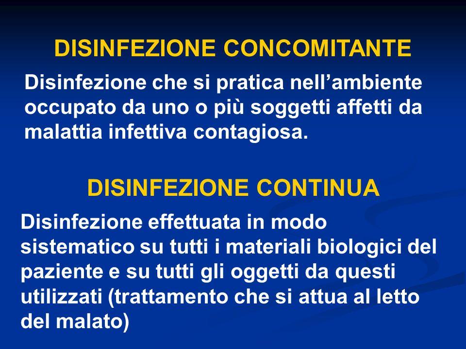 DISINFEZIONE CONCOMITANTE Disinfezione che si pratica nellambiente occupato da uno o più soggetti affetti da malattia infettiva contagiosa. DISINFEZIO