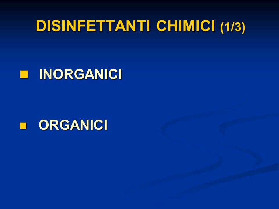 DISINFETTANTI CHIMICI (1/3) INORGANICI INORGANICI ORGANICI ORGANICI